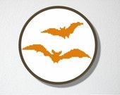 Counted Cross stitch Pattern PDF. Instant download. Bats Silhouette. Includes easy beginner instructions.