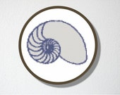Counted Cross stitch Pattern PDF. Instant download. Spiral Shell. Includes easy beginner instructions.