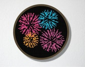 Counted Cross stitch Pattern PDF. Instant download. Fireworks. Includes beginners instructions.