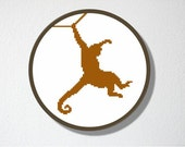 Counted Cross stitch Pattern PDF. Instant download. Monkey Silhouette. Includes easy beginner instructions.