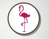 Counted Cross stitch Pattern PDF. Instant download. Flamingo Silhouette. Includes easy beginner instructions.