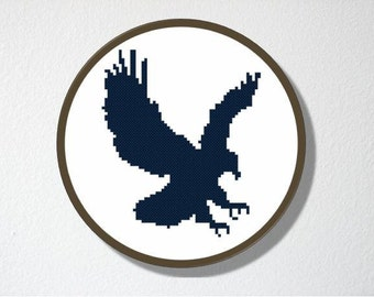 Counted Cross stitch Pattern PDF. Instant download. Eagle Silhouette. Includes easy beginner instructions.
