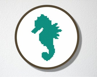Counted Cross stitch Pattern PDF. Instant download. Seahorse Silhouette. Includes easy beginner instructions.