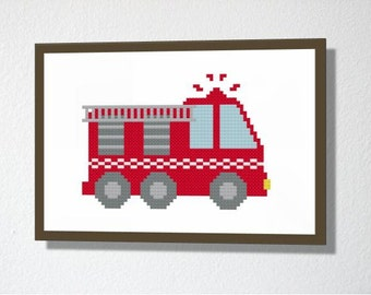 Counted Cross stitch Pattern PDF. Instant download. Cute Fire engine. Includes beginner instructions.