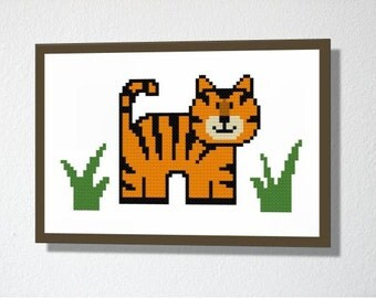 Counted Cross stitch pattern PDF. Instant download. Cute Tiger. Includes easy beginner instructions.