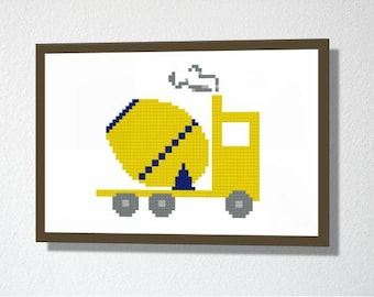 Counted Cross stitch Pattern PDF. Instant download. Cement mixer. Includes easy beginner instructions.