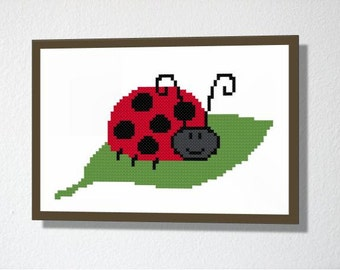 Counted Cross stitch Pattern PDF. Instant download. Cute Ladybug. Includes easy beginners instructions.
