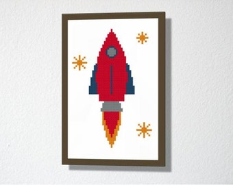 Counted Cross stitch Pattern PDF. Instant download. Rocket. Includes easy beginners instructions.