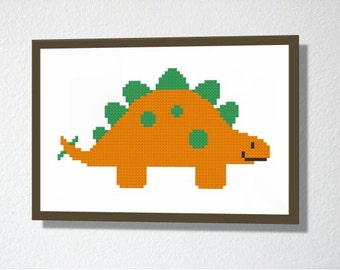 Counted Cross stitch Pattern PDF. Instant download. Stegosaurus Dinosaur. Includes easy beginners instructions.