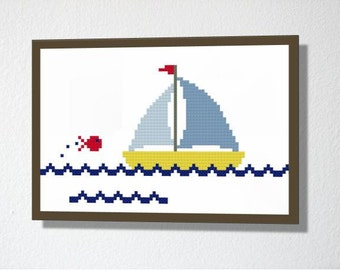 Counted Cross stitch Pattern PDF. Instant download. Cute Yacht. Includes easy beginners instructions.