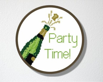 Counted Cross stitch Pattern PDF. Instant download. Party Time Champagne. Includes easy beginners instructions.