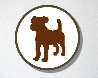 Counted Cross stitch Pattern PDF. Instant download. Puppy Silhouette. Includes easy beginners instructions.