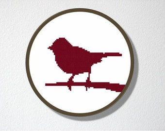 Counted Cross stitch Pattern PDF. Instant download. Sparrow Silhouette. Includes easy beginner instructions.