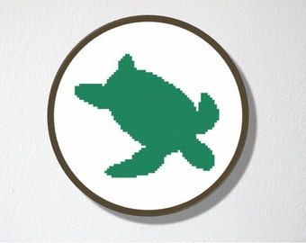Counted Cross stitch Pattern PDF. Instant download. Sea turtle Silhouette. Includes easy beginner instructions.