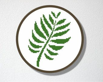 Counted Cross stitch Pattern PDF. Instant download. Fern. Includes easy beginner instructions.