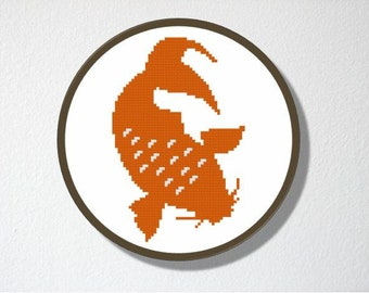 Counted Cross stitch Pattern PDF. Instant download. Koi. Includes easy beginner instructions.