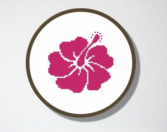 Counted Cross stitch Pattern PDF. Instant download. Hibiscus Silhouette. Includes easy beginner instructions.