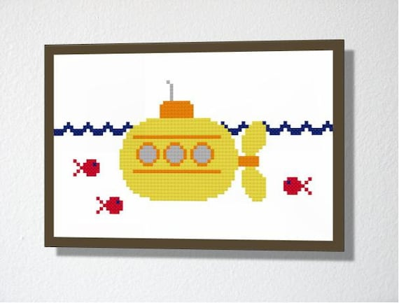Counted Cross stitch PDF Pattern. Instant download. Cute Submarine. Includes easy beginners instructions.
