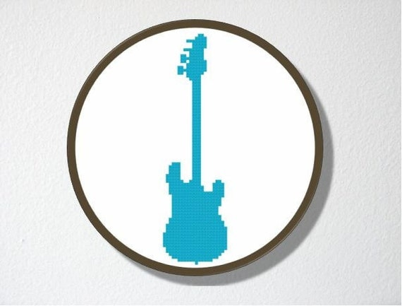 Cross stitch Pattern PDF. Instant download. Guitar Silhouette. Includes easy beginners instructions.