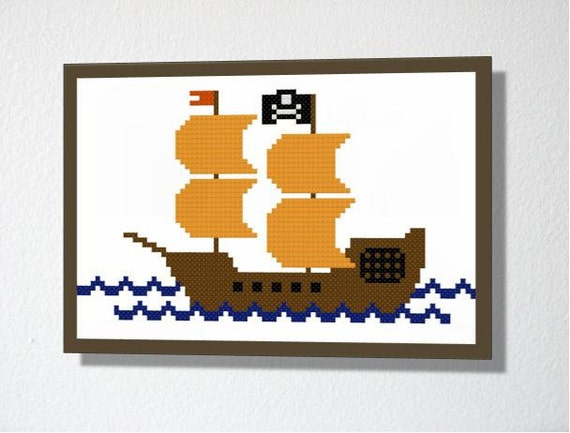 Counted Cross stitch Pattern PDF. Instant download. Pirate Ship. Includes beginners instructions.