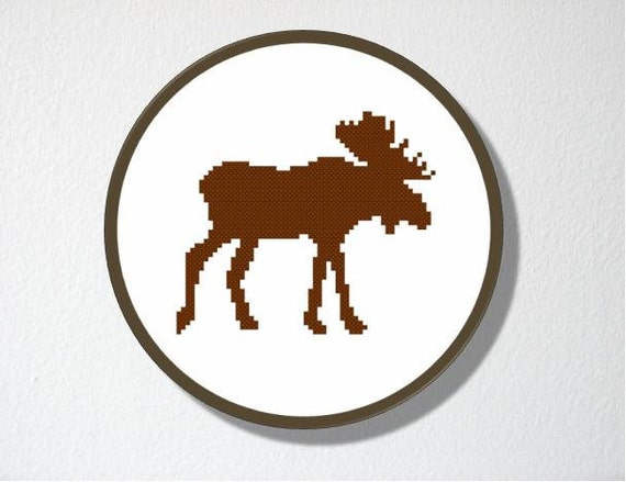 Counted Cross stitch Pattern PDF. Instant download. Moose Silhouette. Includes easy beginner instructions.