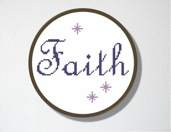 Counted Cross stitch Pattern PDF.Instant download.  Faith. Includes easy beginner instructions.