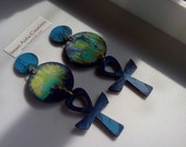 FREE SHIPPING Le Bleu Ankh Earrings