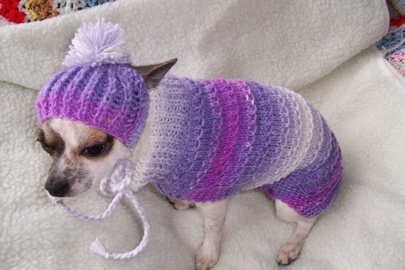 Hand Knitted Patterns For Dog And Cats Coats : 12hand knitted dog cat kitten coat /sweater by Lillyloudesigns