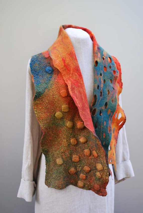 Beautiful hand dyed nuno felt scarf autumn delight pumpkin colour