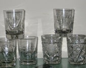 6 Glass Tumbler High Ball Glasses - All 6 are Mid Century Cut Glass - Princess and American Brilliant style