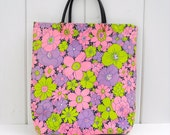 CLEARANCE SALE--1960s Flower and Polka Dot Tote Bag