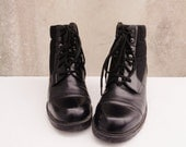 Chunky 90s Leather Low Heel Lace Up Combat Boots - US womens size 8