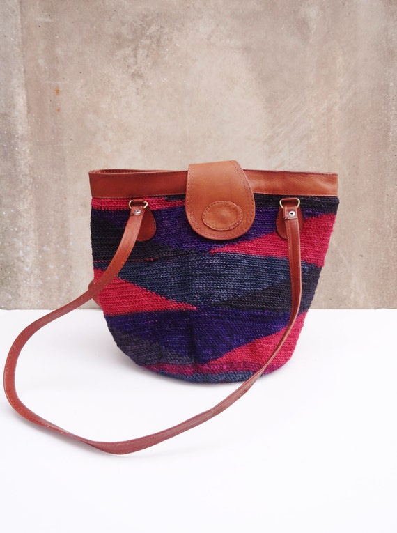 Vintage Berry Tones Woven Straw Bucket Bag with Leather Trim