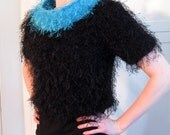 """RESERVED FOR SUSANA Knitted Sweater in Acrylic """"Eyelash"""" Yarn"""