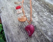 Asymmetrical Necklace Romantic Leaf Jewelry Rose Glass Leaves and Copper Chain Mothers Day and Easter