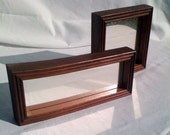Two Modern Retro Wooden Framed Mirrors
