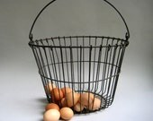 Vintage Primitive Antique Wire Egg Basket