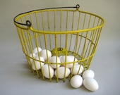Vintage  Egg Basket Yellow Wire