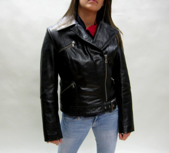 RESERVE FOR SUKIISUKII Black Leather Biker Jacket, Women's