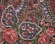 Vintage 1970s PETER PAN quilt fabric in highquality unused cotton with small printed flower paisley pattern on vinered bottomcolour