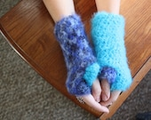Fuzzy Fingerless Mittens- light blue and dark blue