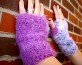 Fuzzy Fingerless Mittens- light purple and grey