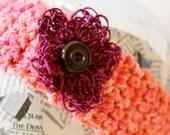Crochet headband- bright pink with purple/magenta flower and dark button