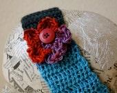 Crochet headband- blue/black/gray with purple/red flower