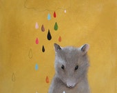 Cute little mouse.Nursery art. original painting by inAmeliart