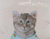 I love you Goldfish. Mr Cat in blue pajamas. Cat painting. Original on canvas.