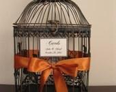 Bird Cage Wedding Card Holder with Burnt Orange Hydrangeas  / Wedding Card Holder /  Birdcage Card Holder