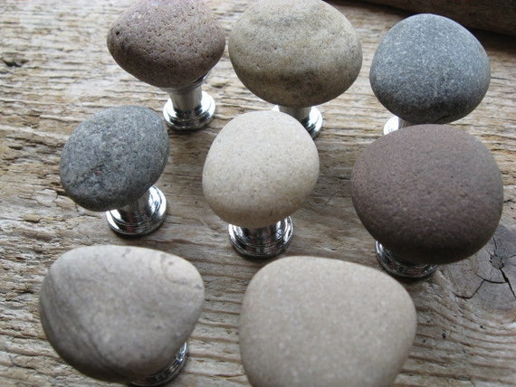 Beach Stone Cabinet Knobs MIXED COLORS Beach Stone Cabinet Knobs