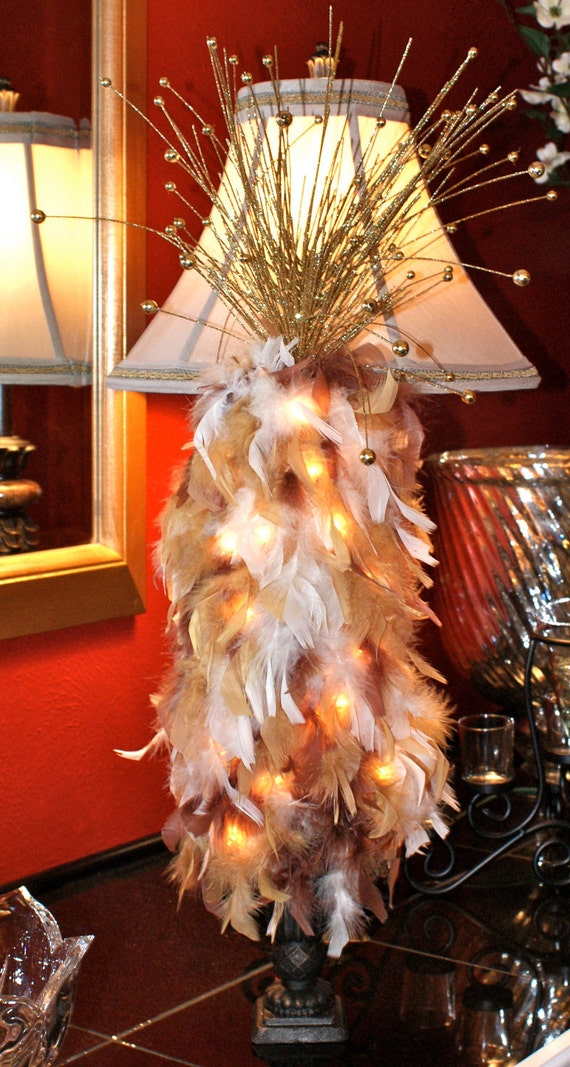 Fall Arrangement, Bronze, Champagne and Gold Feather Topiary tree (Lighted).