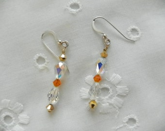 Handmade Earrings Clear AB Swarovski Tear Drop Crystals Gold Orange Crystal Accents Wedding Prom Jewelry Jewellery Gift Guide Women